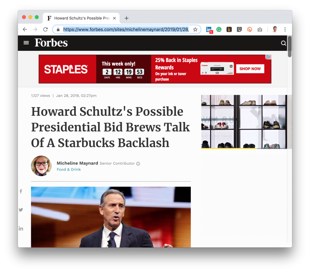 Forbes Howard Schultz President Coffee Pun Headline