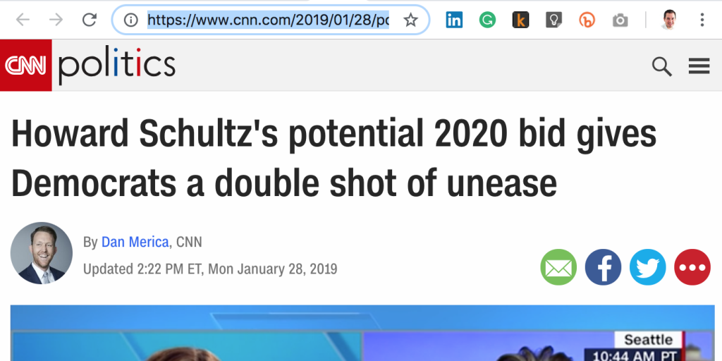 CNN Howard Schultz President Coffee Pun Headline