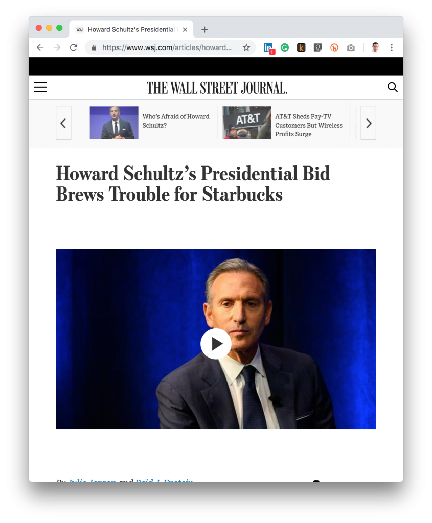 WSJ Howard Schultz President Coffee Pun Headline