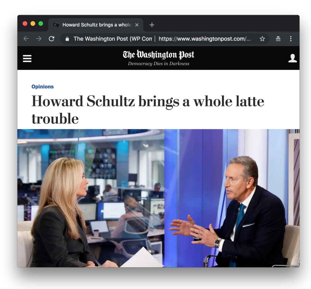 WaPo Howard Schultz President Coffee Pun Headline