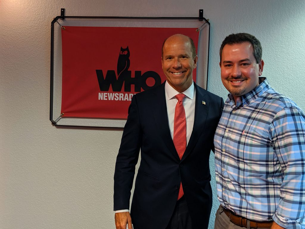 John Delaney with Justin Brady in the WHO Radio Studio