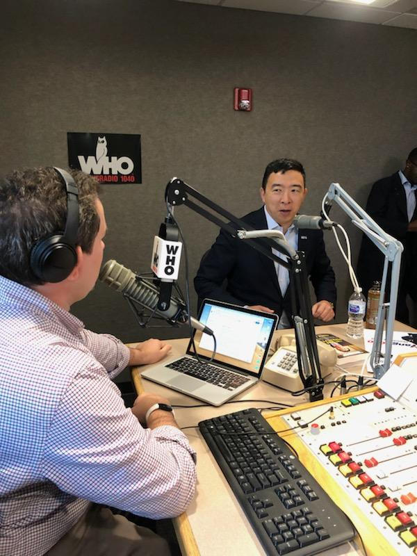 Andrew Yang interview in the WHO Radio Studios with Justin Brady