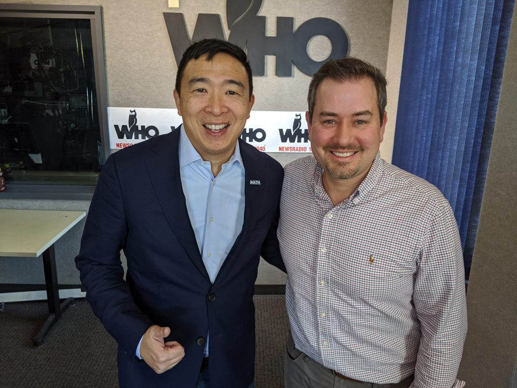 Andrew Yang with Justin Brady at WHO Radio