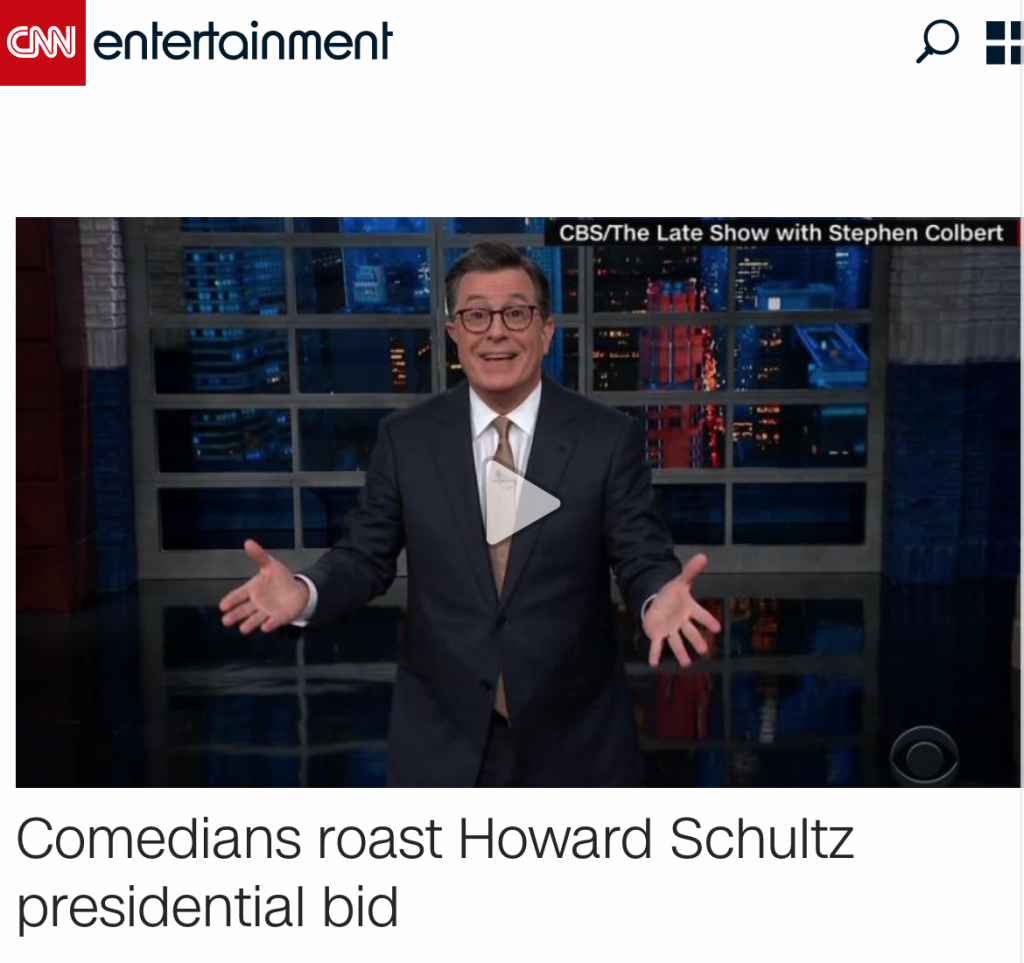 CNN E Howard Schultz President Coffee Pun Headline