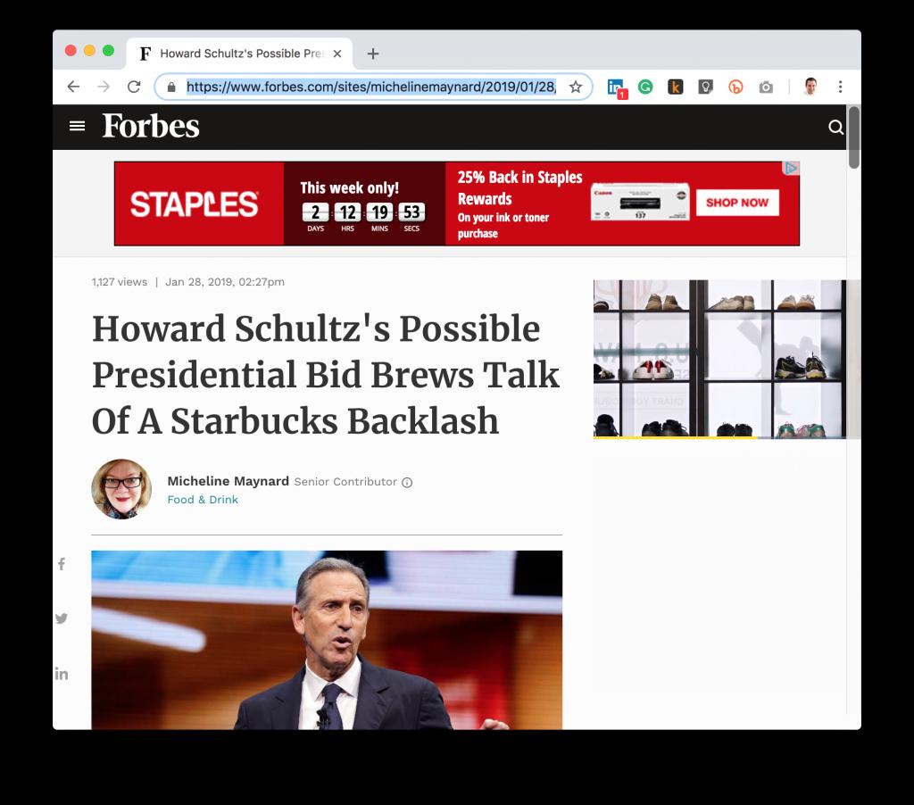 Forbes Howard Schultz President Coffee Pun Headline
