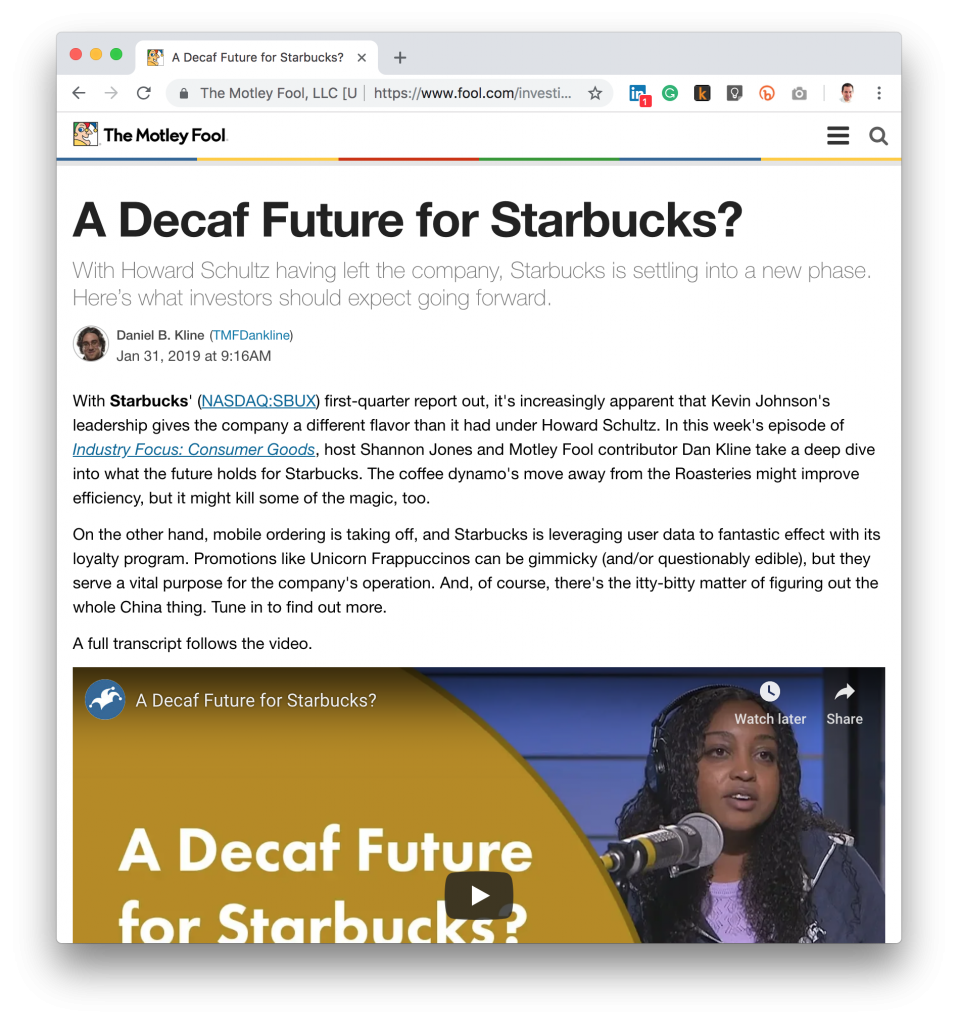 Motley Fool Howard Schultz President Coffee Pun Headline