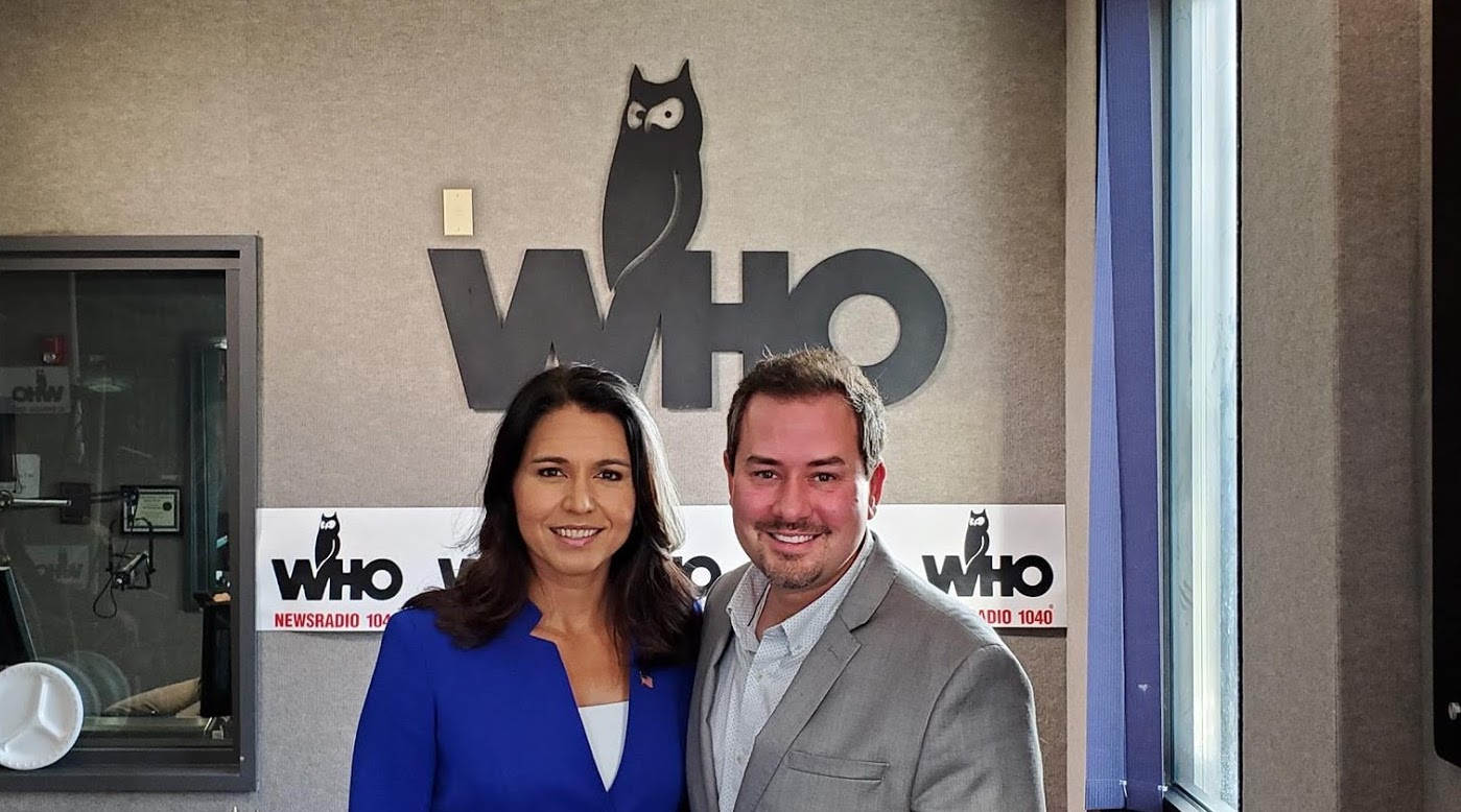 Tulsi Gabbard and Justin Brady in WHO Radio Studios
