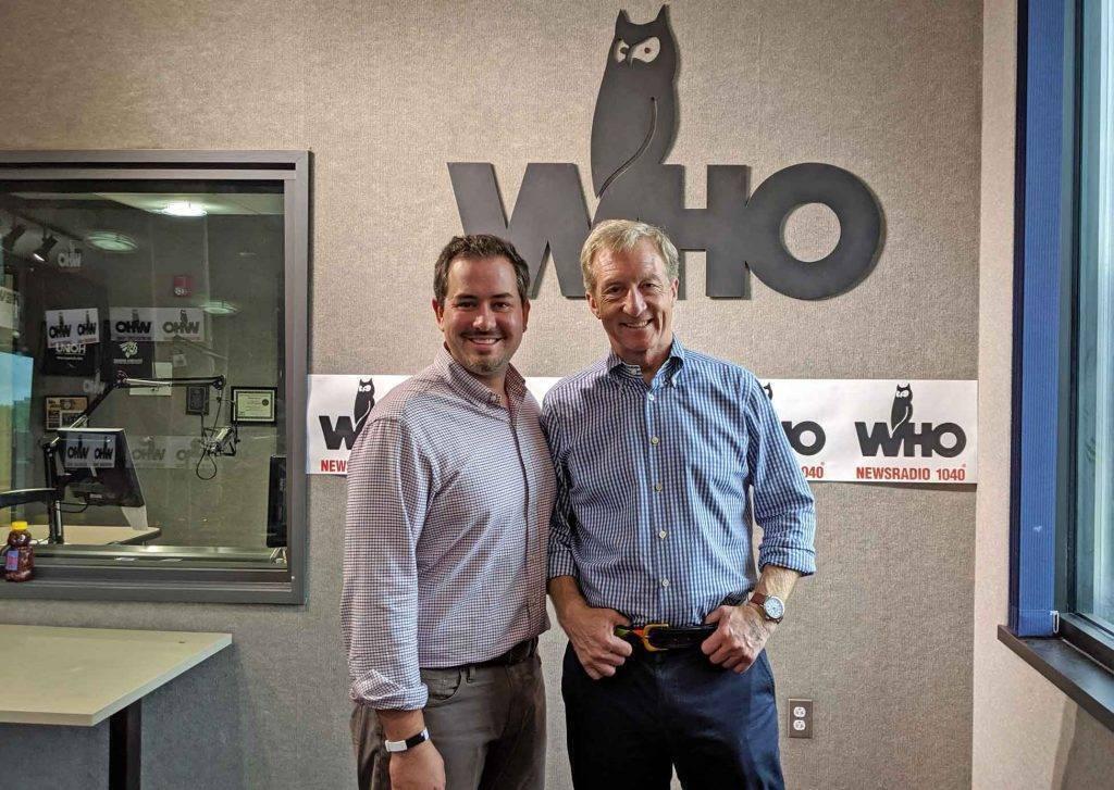 Tom Steyer with Justin Brady in WHO Radio Studio