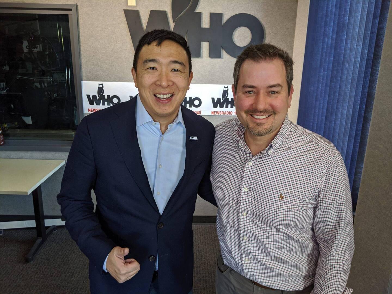 Andrew Yang with Justin Brady at WHO Radio