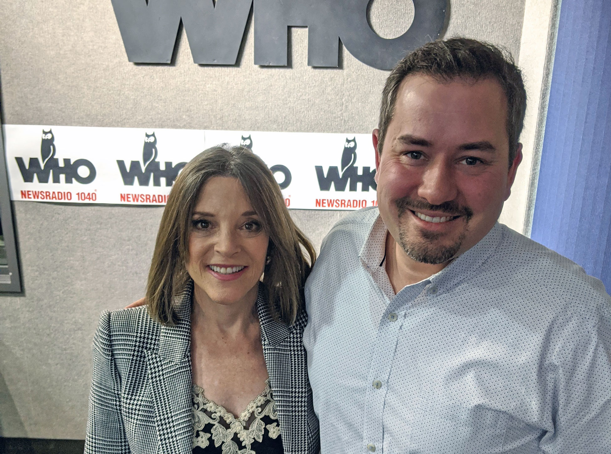 Marianne Williamson with Justin Brady in WHO Radio Studio, Iowa
