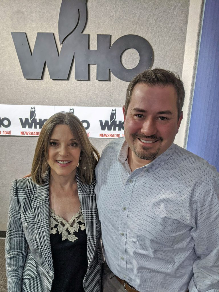 Marianne Williamson and Justin Brady at WHO Radio