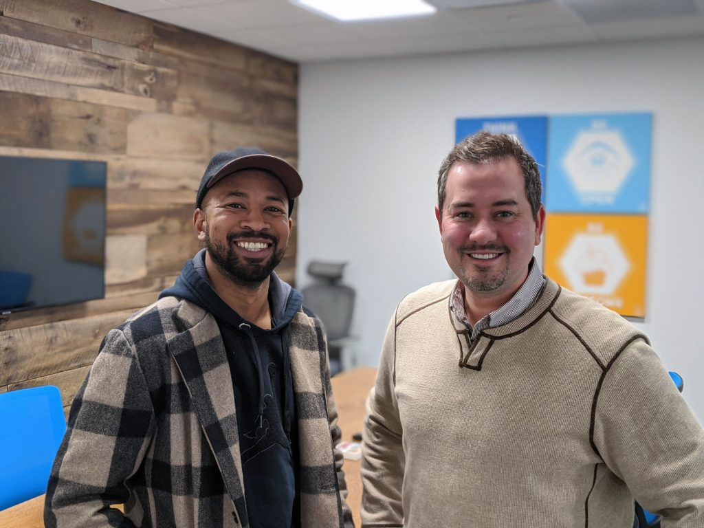 Pernell Cezar co-founder of Blk & Bold Coffee with with Justin Brady