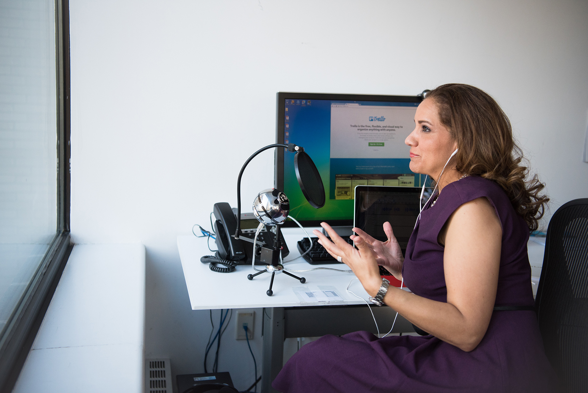 woman frustrated with podcast