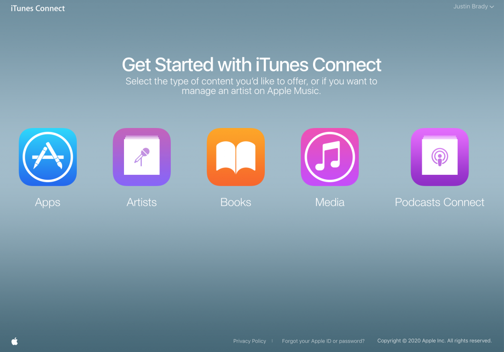 iTunes connect screen shot showing icons for: apps, artists, books, media, and podcasts connect.