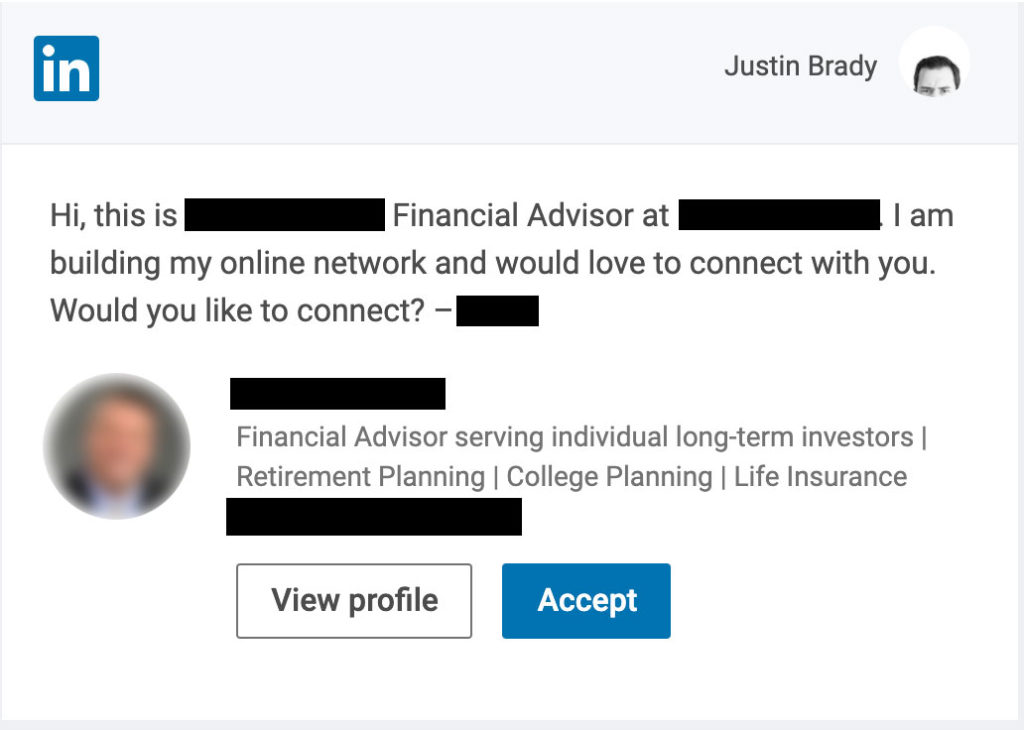 A screen shot of a connection request.