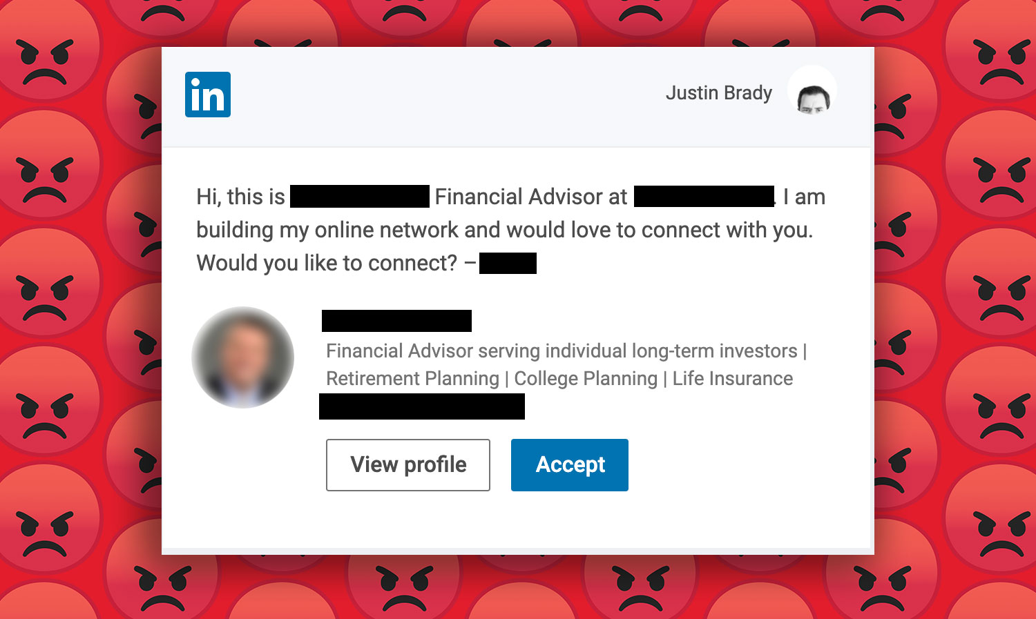 LinkedIn screen shot with angry faces