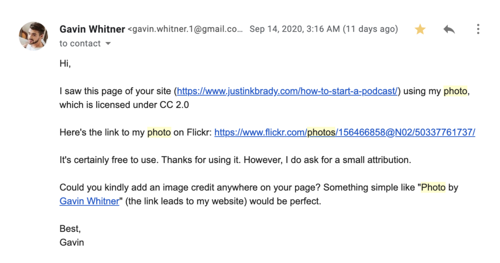 Screen shots of the alleged backlink photo credit scam from Gavin Whitner representing Musicoomph.com