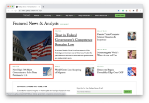 gallup website screen shot of juxtaposed headlines