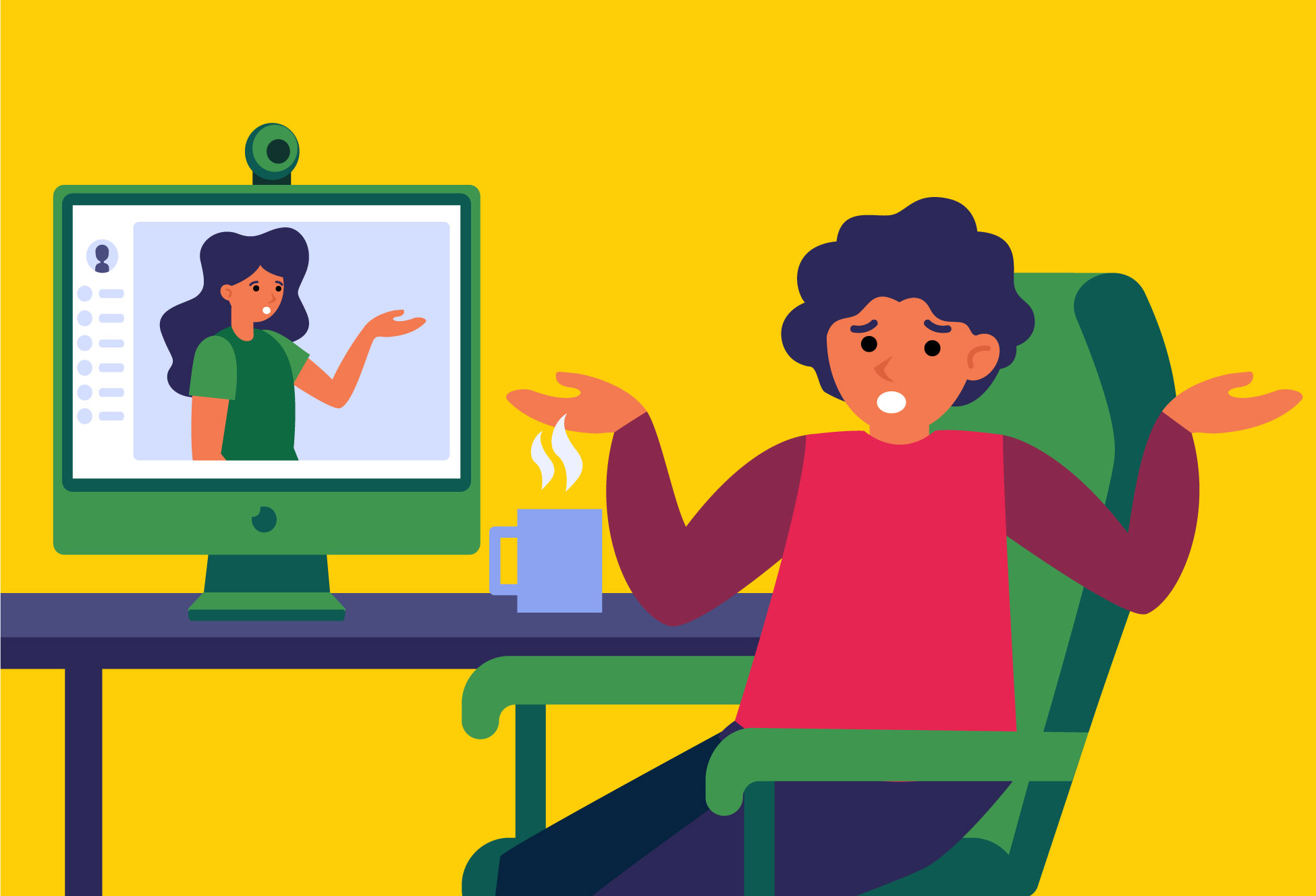 illustration of two people struggling with a video conference call