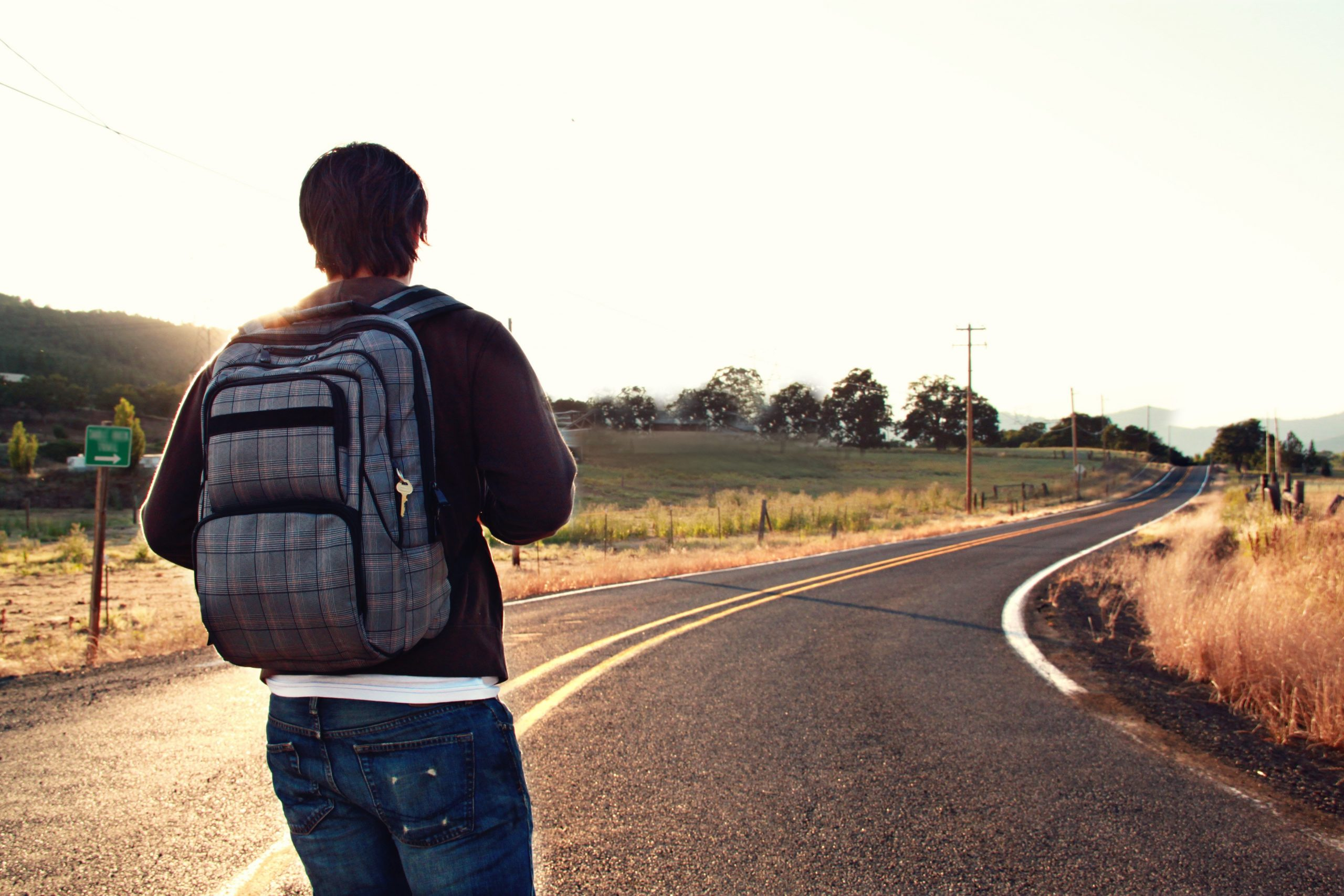 man embarking on journey by himself
