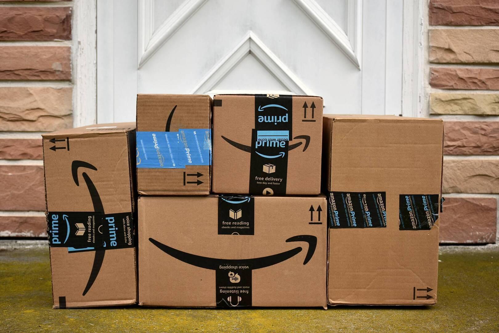 Amazon boxes at someones doorstep