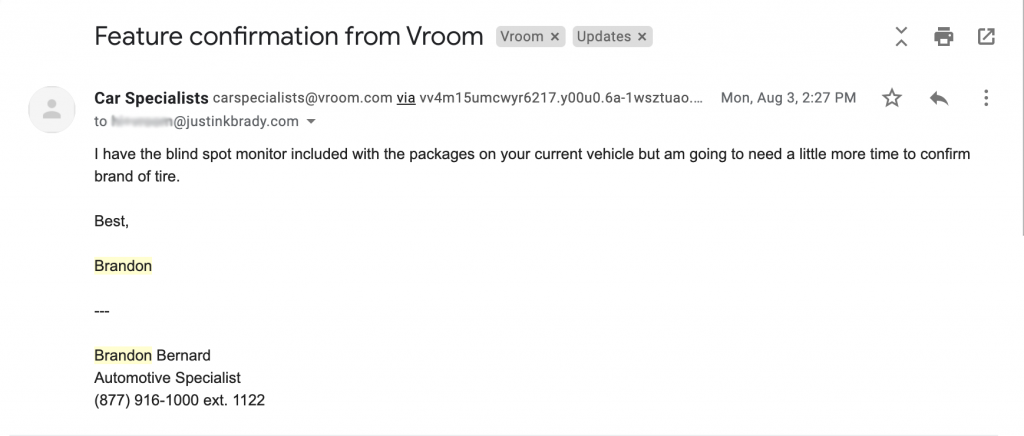 """Email screen capture received from """"Brandon"""" at Vroom"""