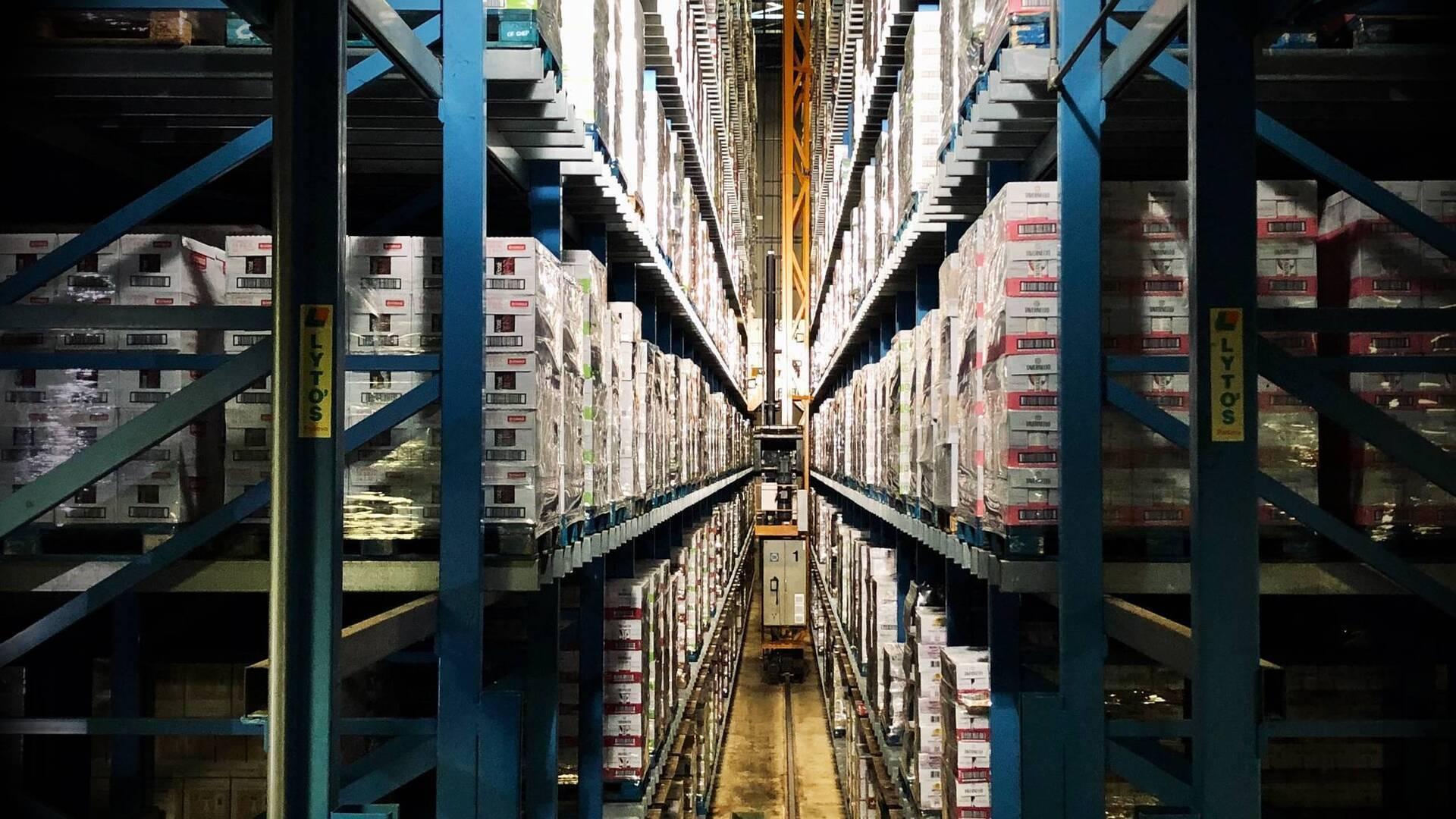 Warehouse racks that stretch for hundreds of feet