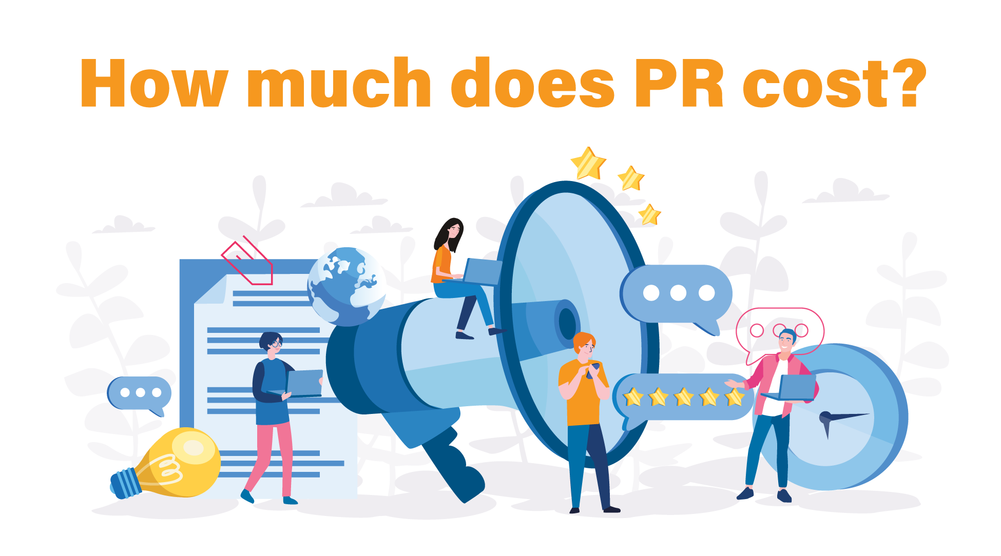 """Illustration of various PR symbolism with text that reads """"how much does PR cost?"""""""