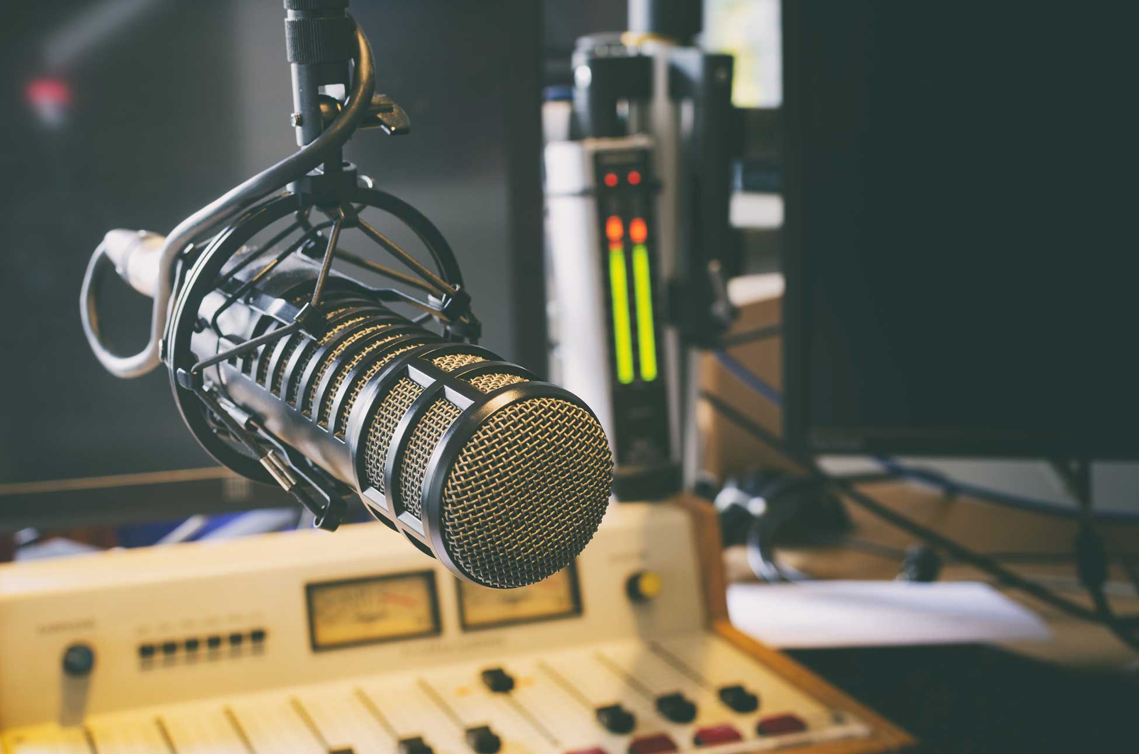 Radio microphone next to sound board
