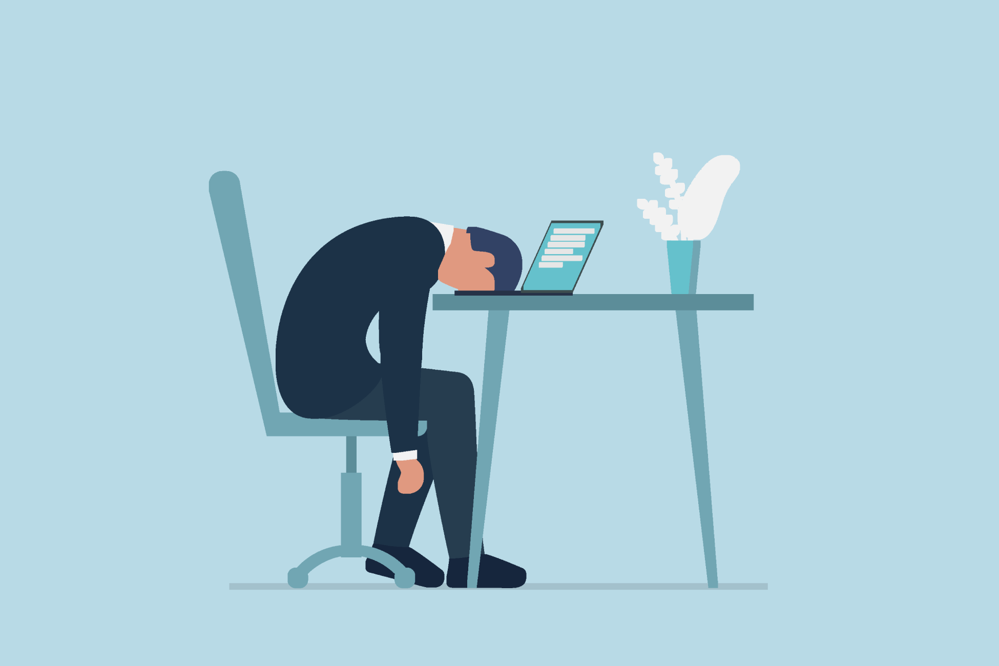 Illustration of a failed entrepreneur face down on his keyboard